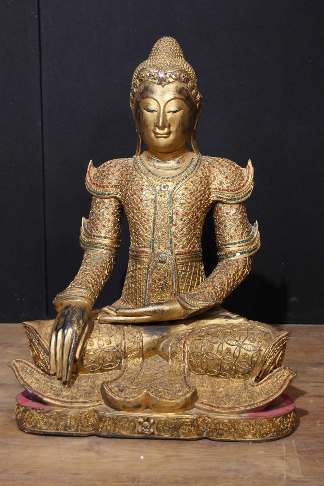 Bouddhisme en bois sculpté Statue de Bouddha antique népalaise