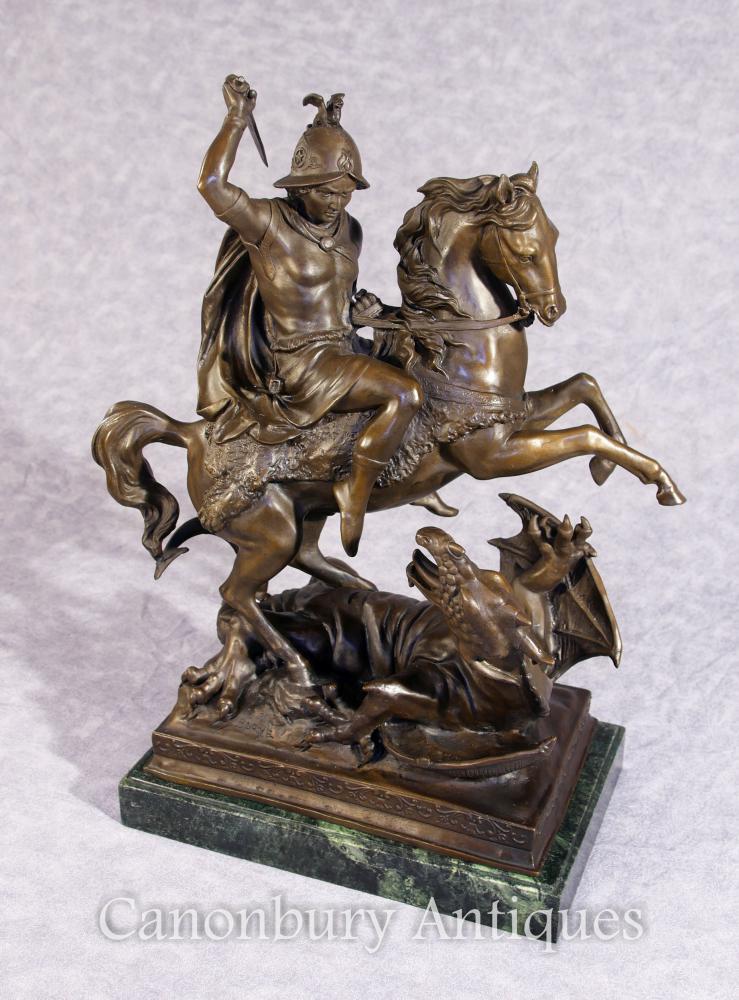 Bronze St George et Dragon Slayer Cheval Statue Signé Barye Saint