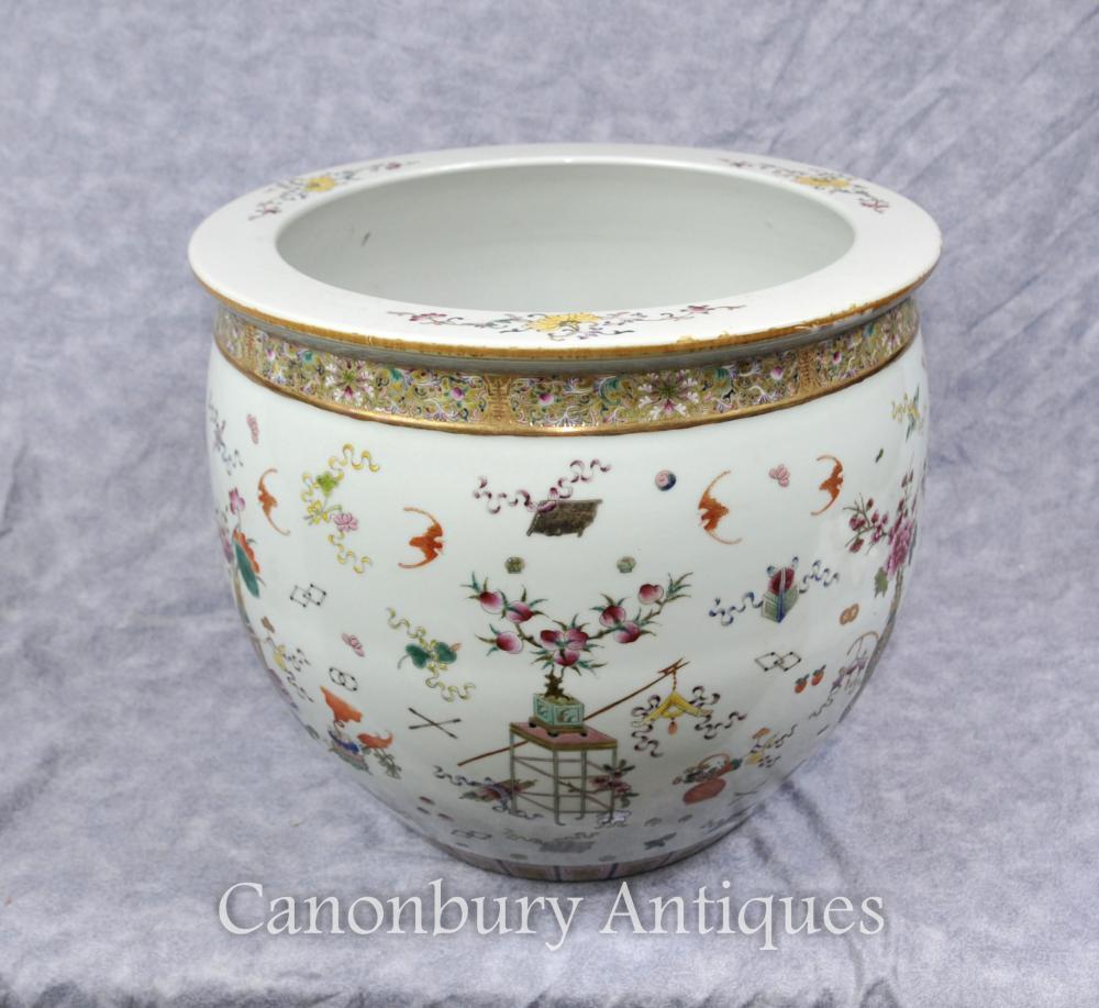 Chinois Qianlong porcelaine planter bol main peint en céramique