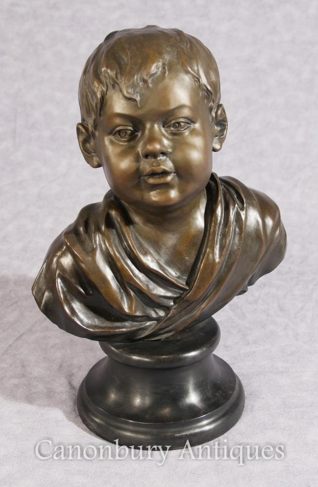 Classique Français Bronze Boy Bust Casting Enfant