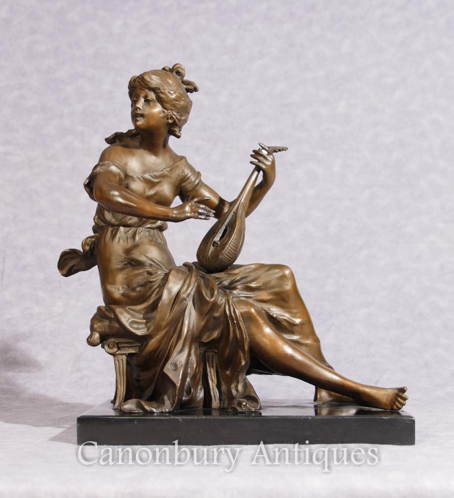 Classique Italien Bronze Maiden et Lyre Statue Figurine Signée