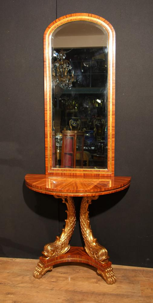 Ensemble table et miroir Empire français Serpent doré