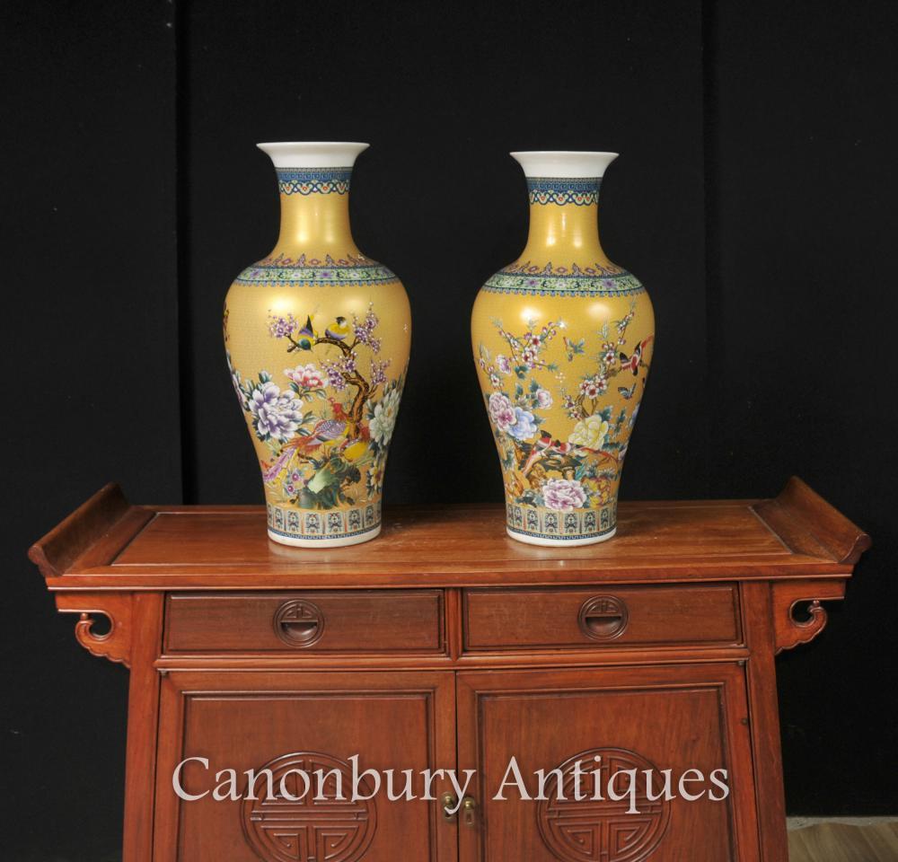 Família parella xinesa de porcellana Kangxi urnes groc