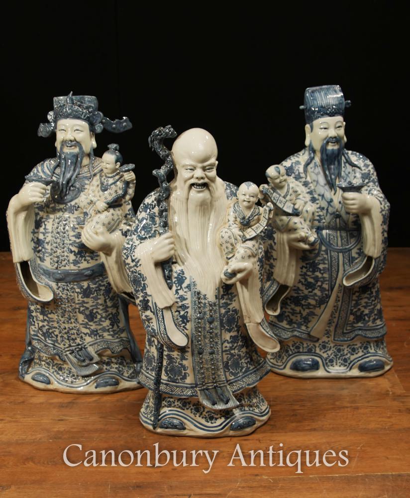 Figurines en porcelaine chinoise noire et blanche