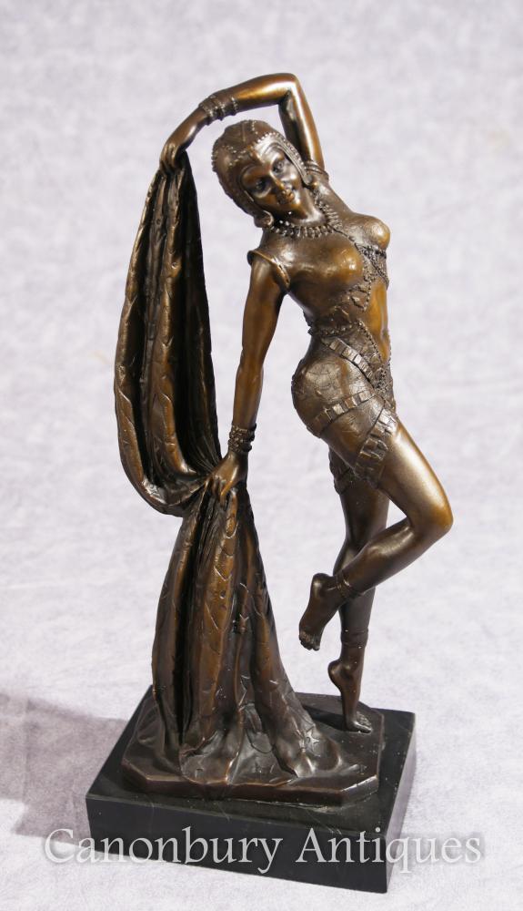 French Art Nouveau Bronze Danseur Signé Leonard