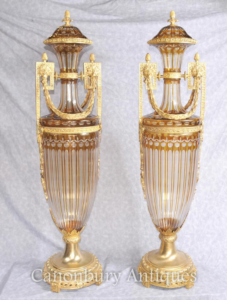 French Empire Gut Verres Urnes Vases Amphore Forme Ormolu Monture