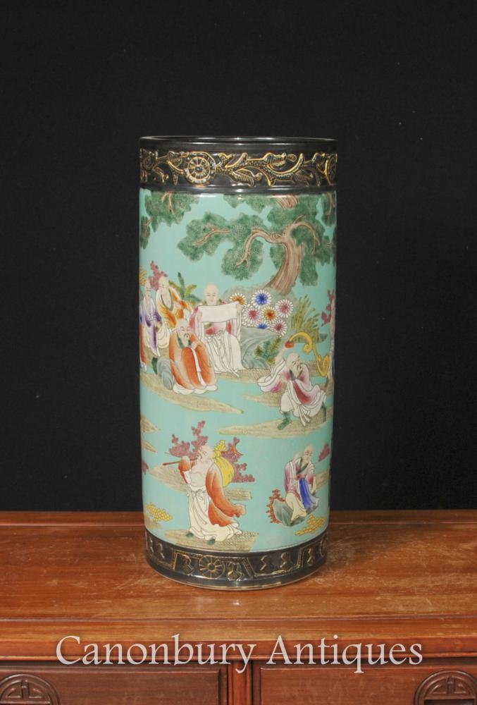 Japonais Famille Jaune Porcelaine Parapluie Stand Vase Urn