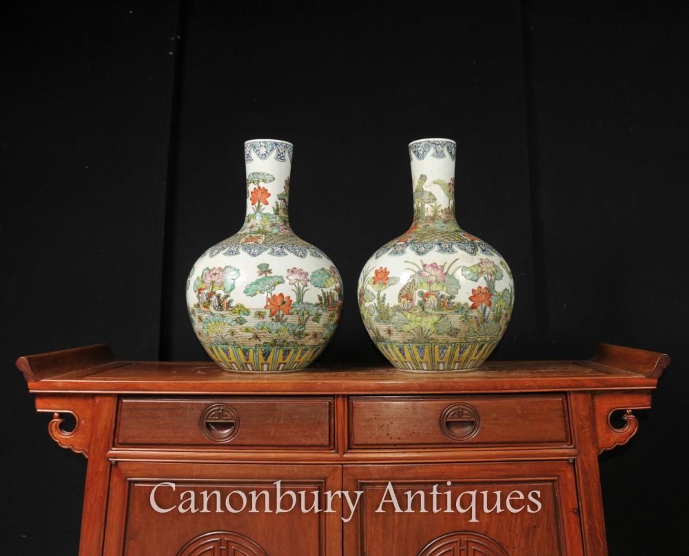 La parella xinesa de Famille Vert ceràmica gerros de porcellana urnes Shangping