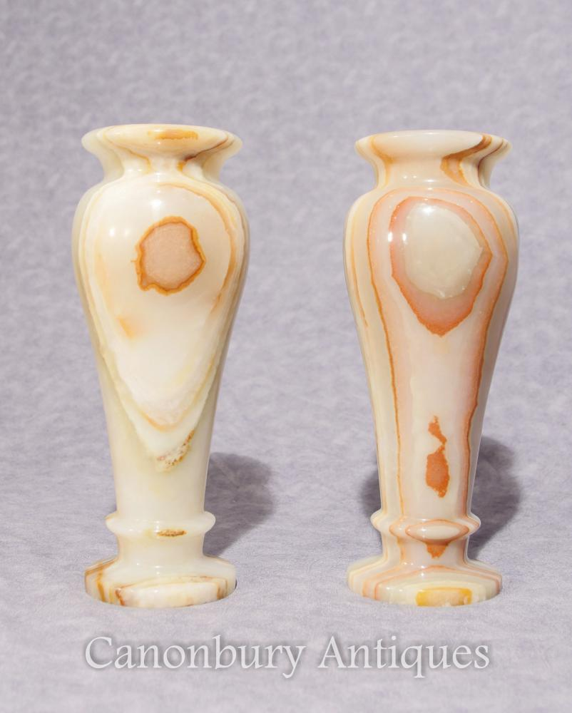 Paire Antique Onyx Italien Urnes Marbre Vases 1930