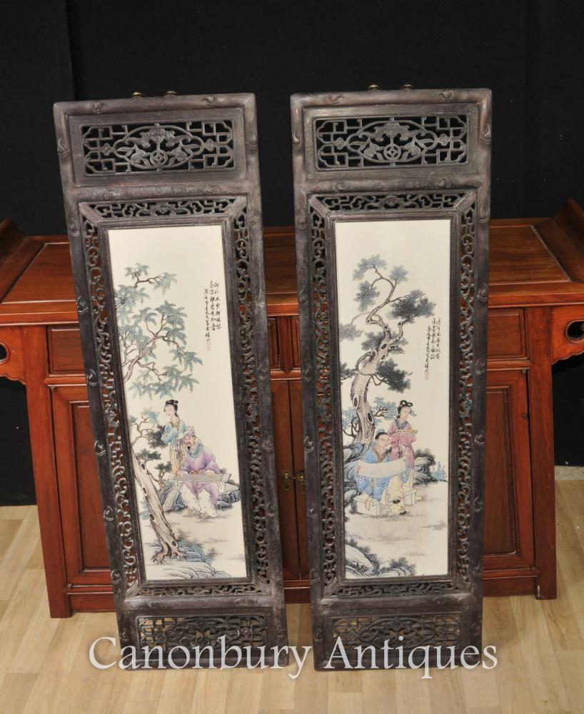 Paire Chinois Kangxi Porcelaine Plaques Écrans Cadre De Bois Durs