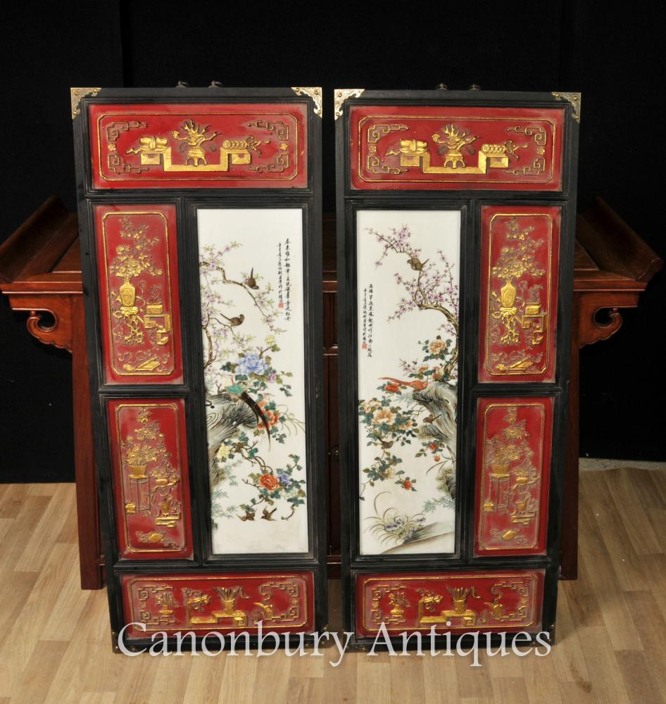 Paire Chinois Qianlong Céramique Plaques Photos Porcelaine Peinte à La Main