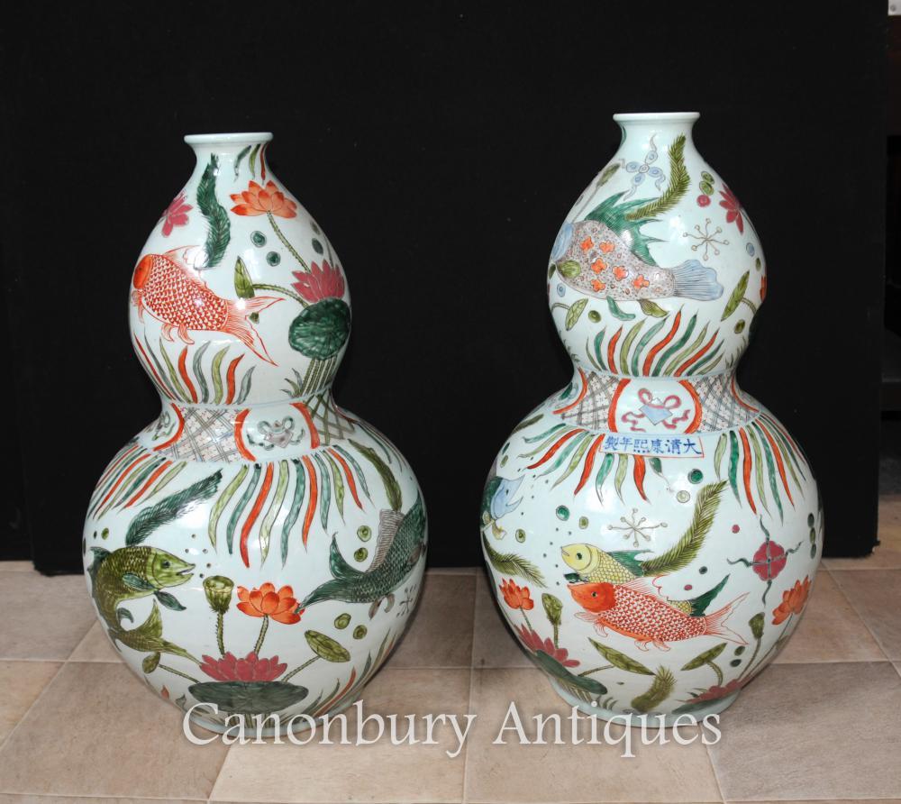 Paire Chinois Qianlong Porcelaine Vases Urnes Double Gourd Céramique