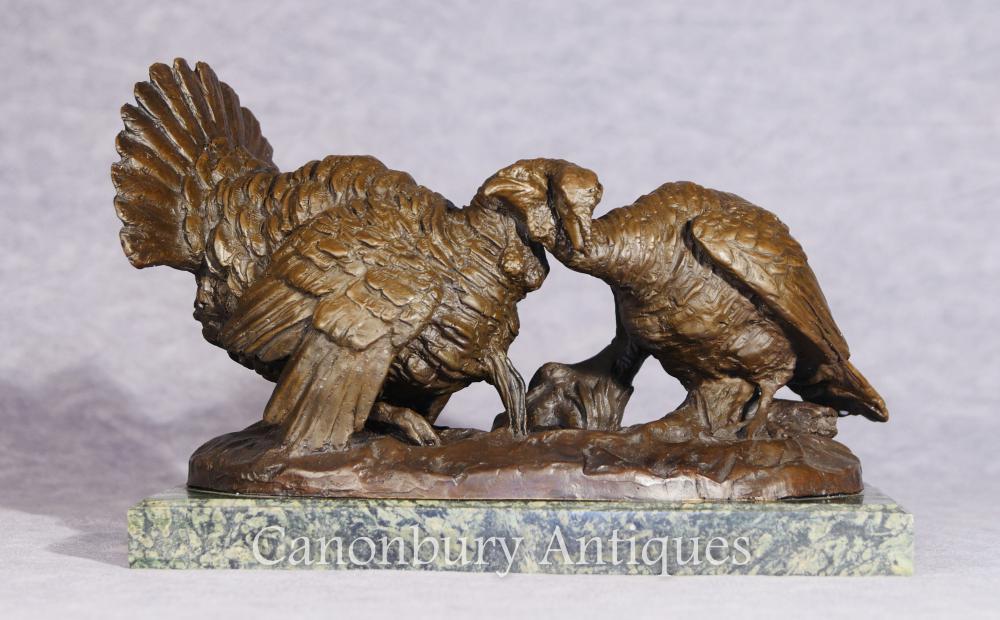 Paire Dindes de Bronze Thanksgiving Fowl Statue Casting