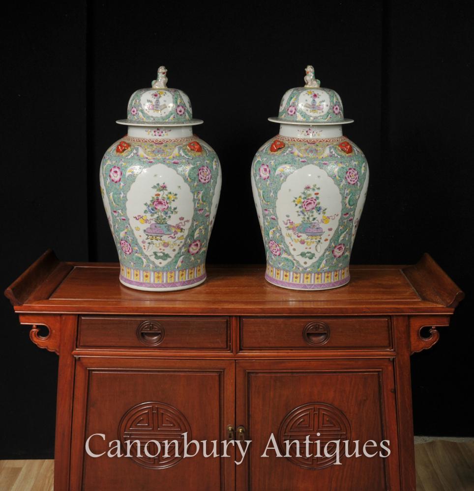 Paire Famille chinoise Vert Porcelaine Jarres au gingembre Urnes du temple Vases