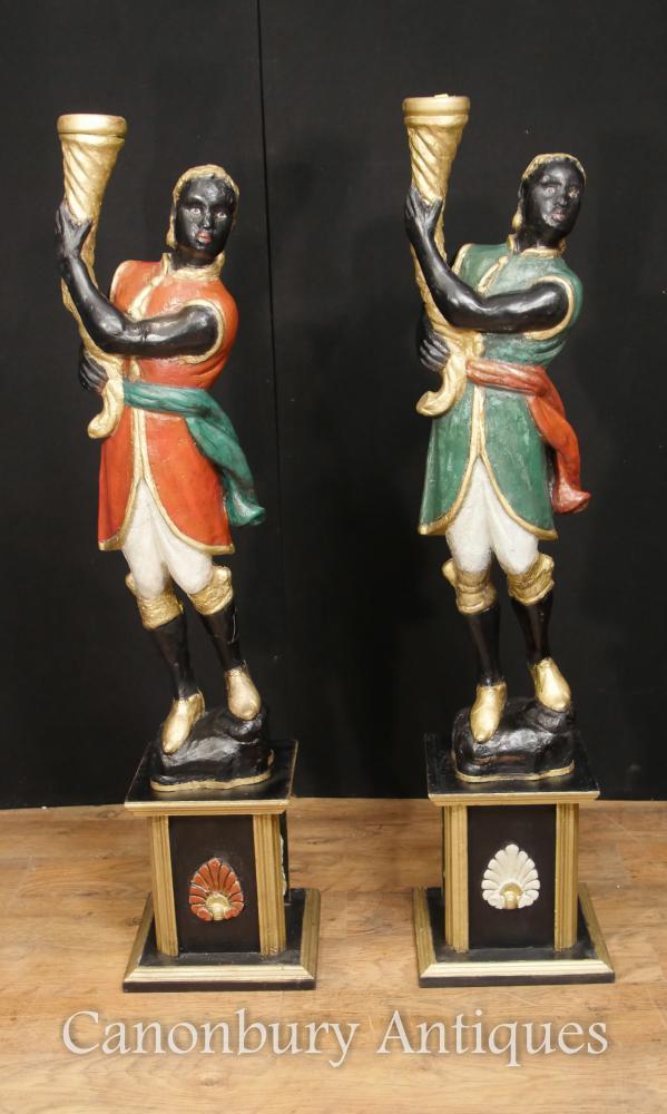Paire Italienne Vénitienne Blackamoor Figures Peintes Vers 1930 Torcheres