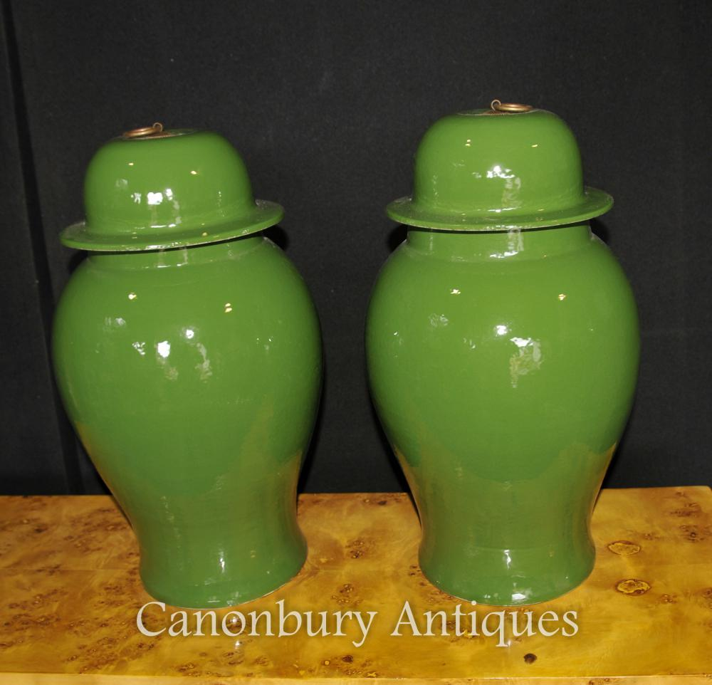 Paire Porcelaine chinoise Urnes couvertes Temple Jars Kangxi Céramique