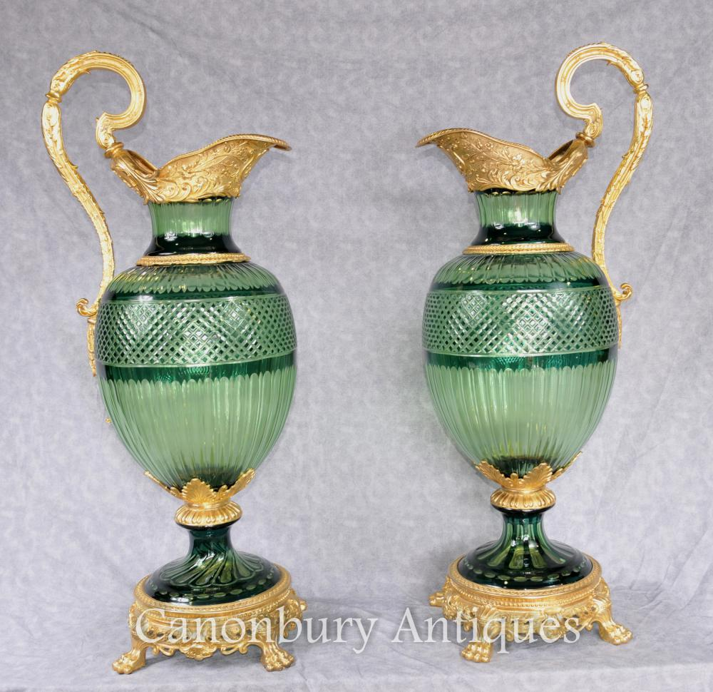 Paire XL French Empire Biscuits en verre taillé Ewers Ormolu Mounts