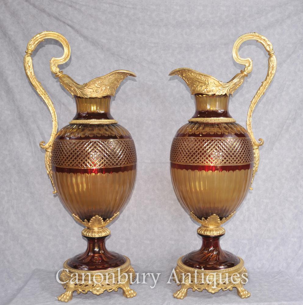 Paire d'Empire françaises Urnes en verre taillé Vases Classique Campana Planter