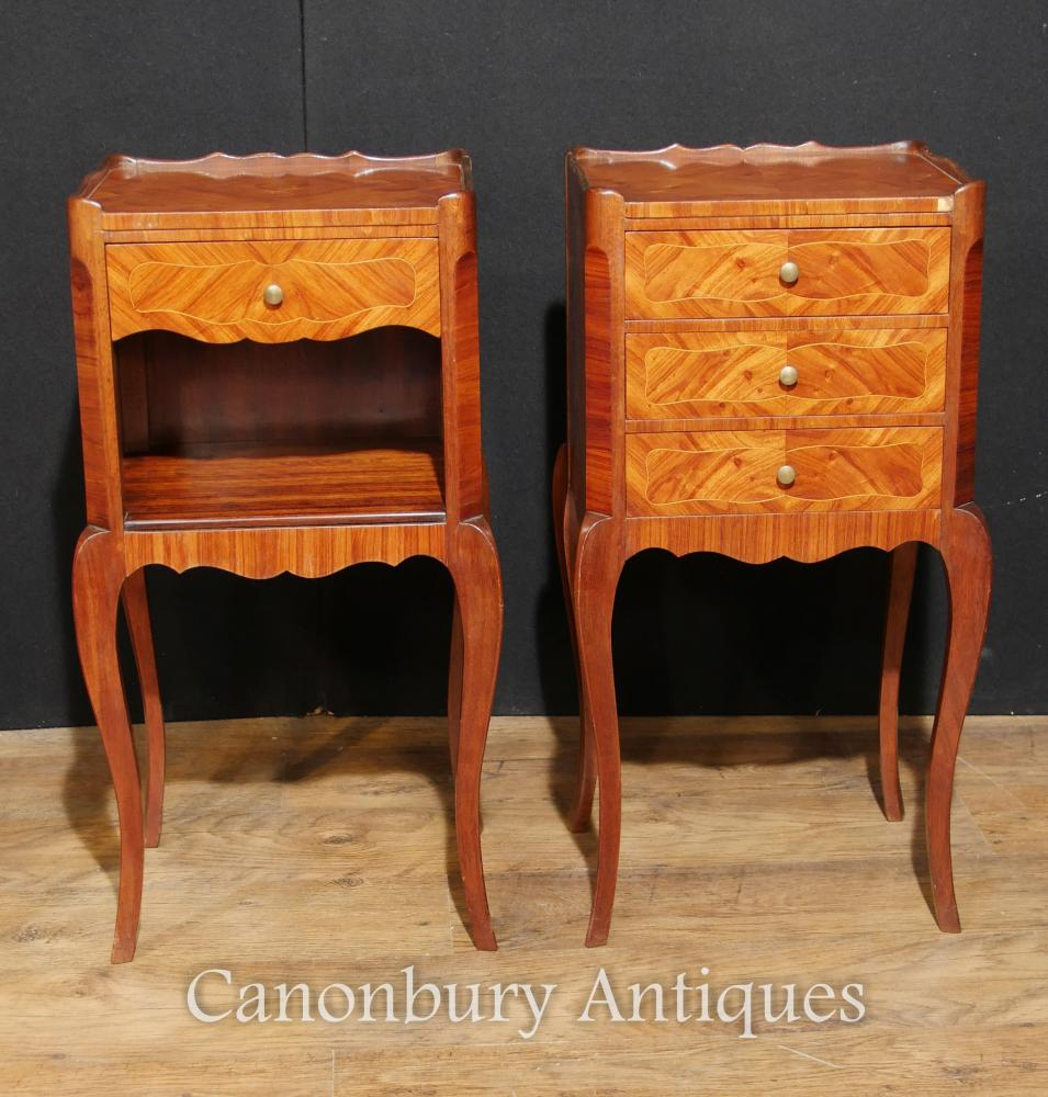 Paire d'armoires de chevet antiques Empire Antique Kingwood Nightstands 1930