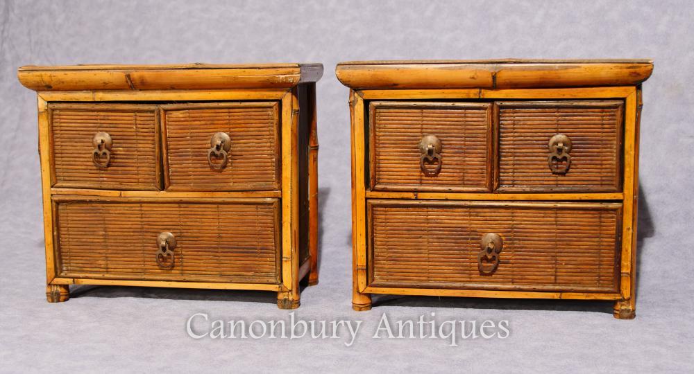 Paire de tiroirs chinois antique en bambou Mini échantillons de voyage 1880