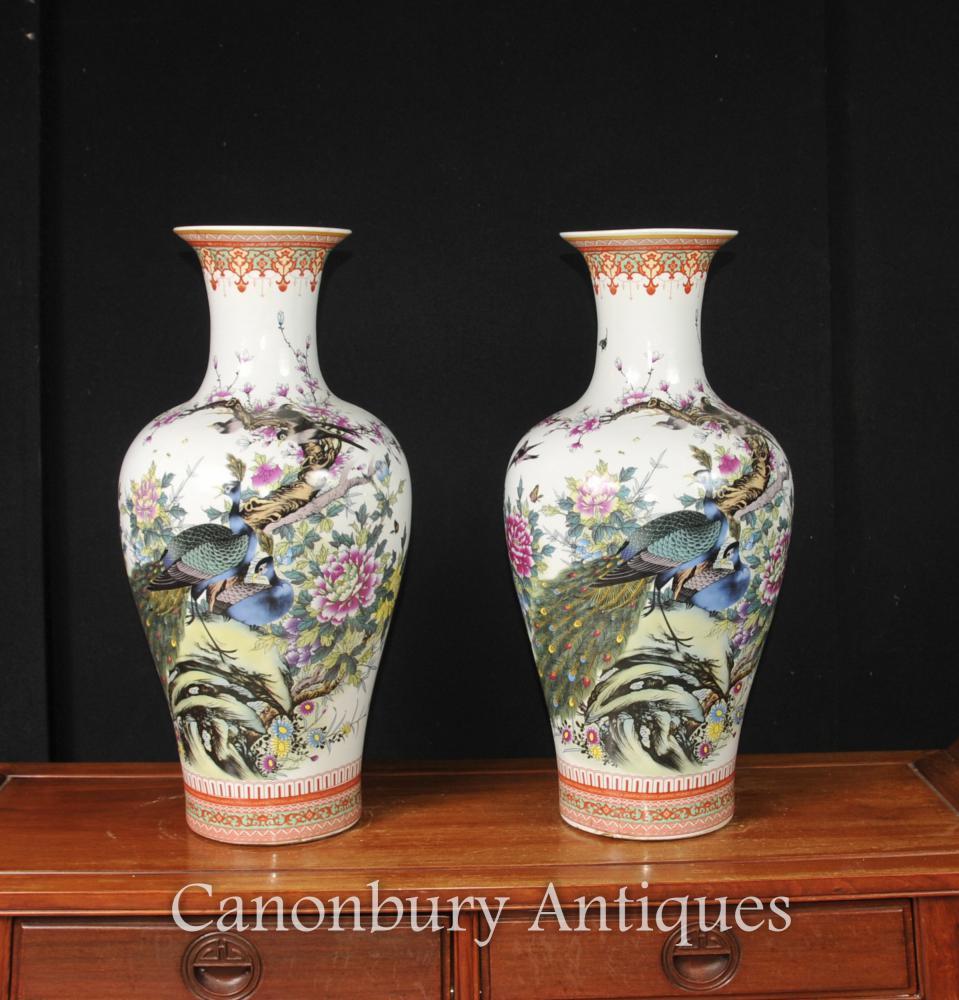 Paire de vases chinois en porcelaine Doucai Urnes Peintures de faisan