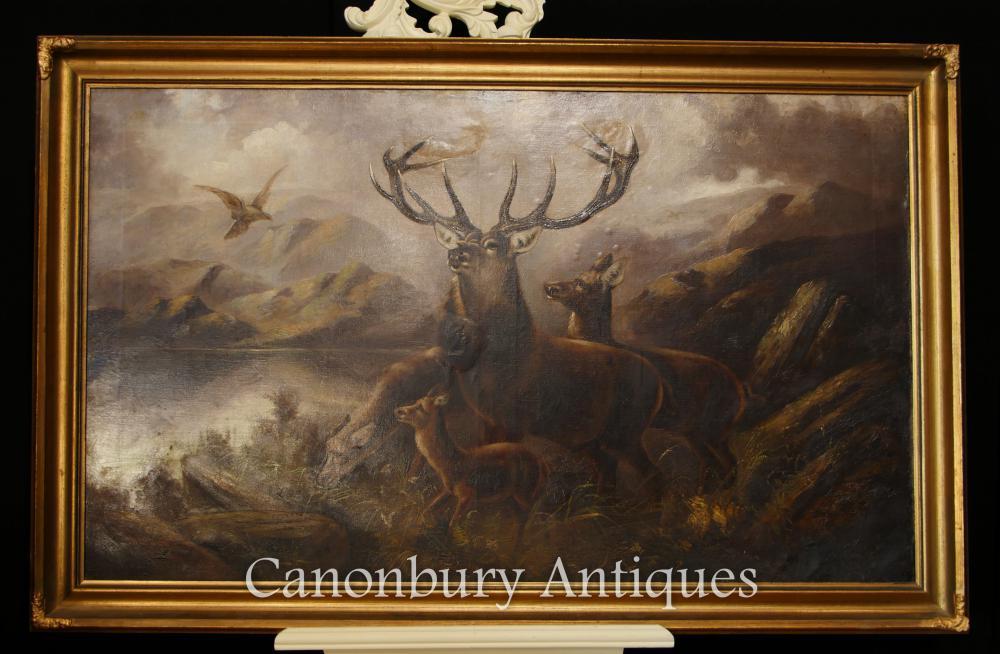 Peinture à l'huile écossais ancien monarque du paysage des Highlands Glen Stag