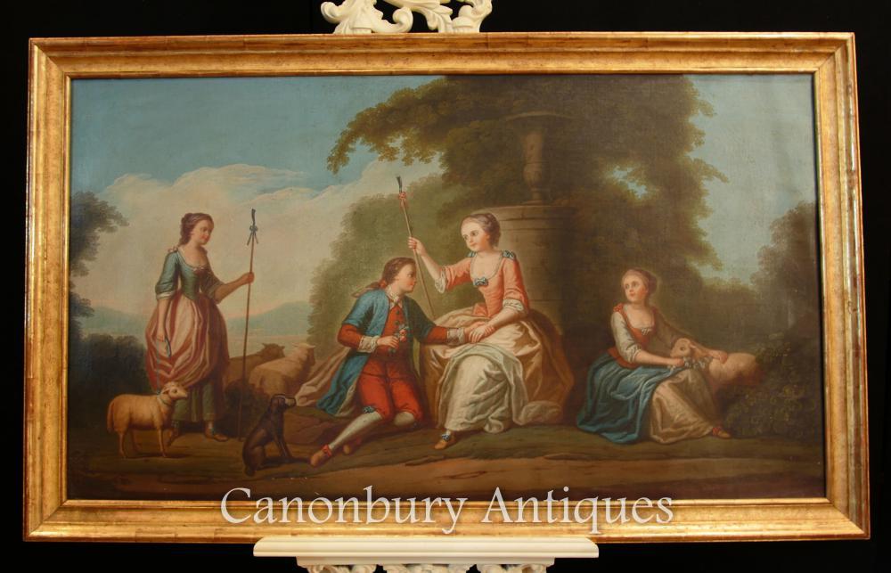 Peinture à l'huile française antique Portrait romantique Courtly Love Art