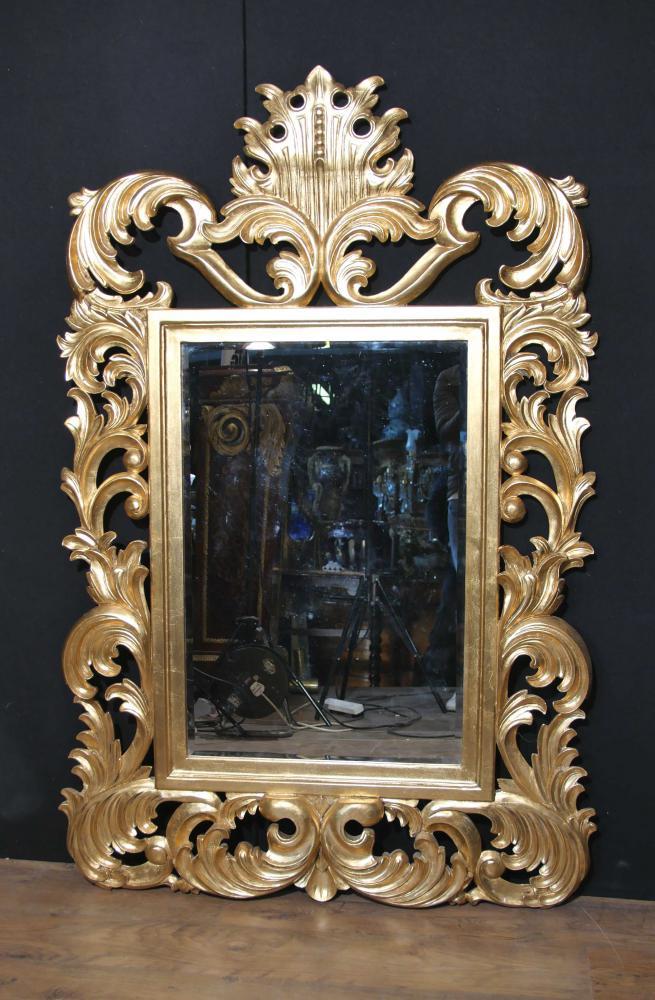 Rococo fran ais florides miroir bois dore pier for Miroir francais
