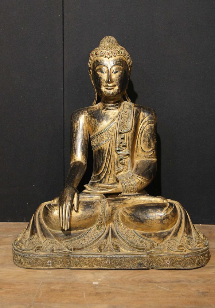 Sculpté Antique Statue du Bouddha tibétain en bois Dore Le Bouddhisme 1930