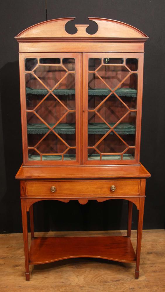 Sheraton Edwardian Antique Vaisselier Bibliothèque