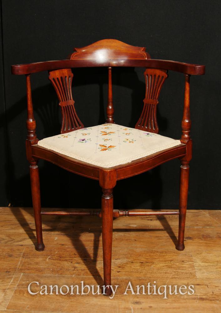 Sièges d'angle Edwardian Corner Chair Sièges Mahogany Inlay 1910