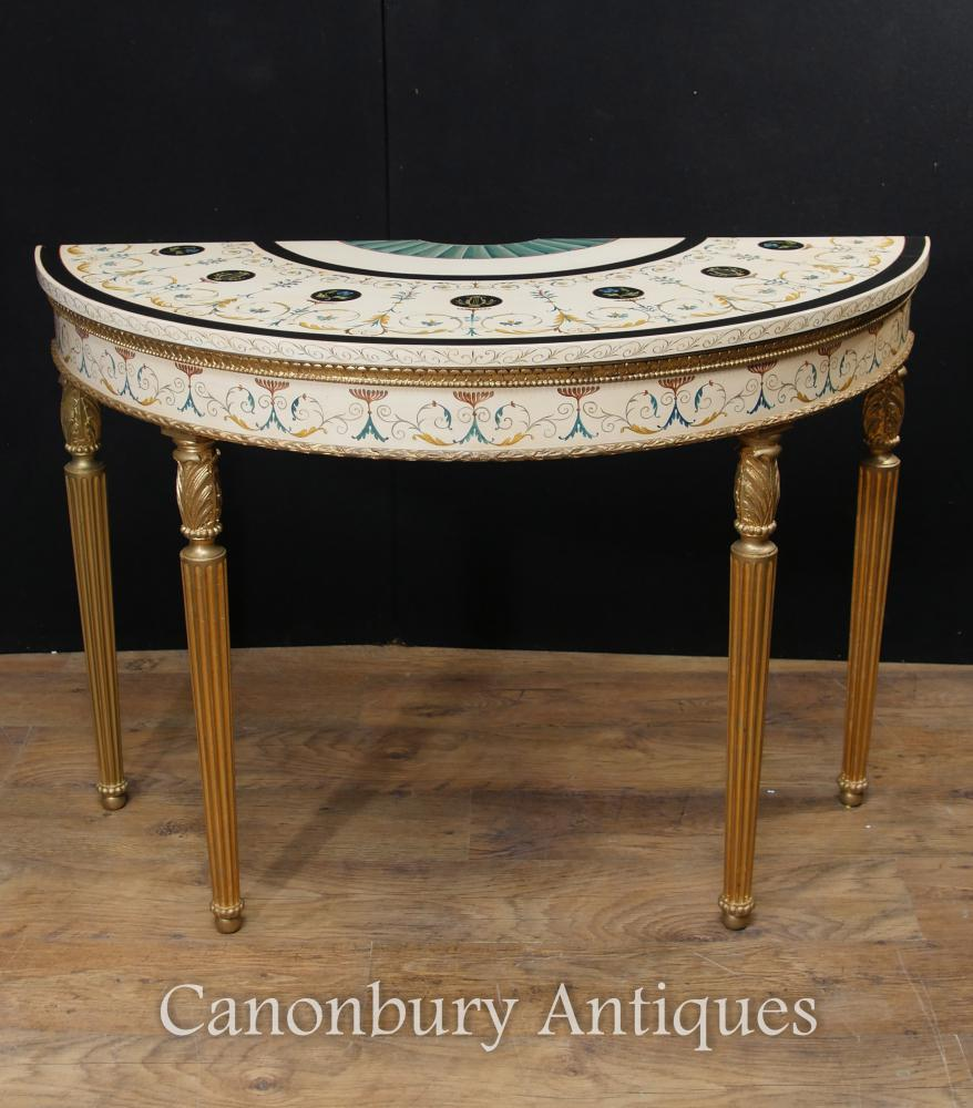 Single Adams Demi Lune Table console Tables peintes