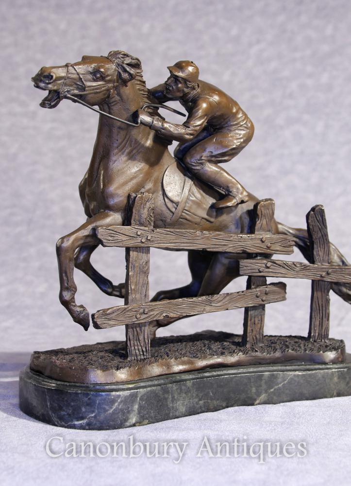 Statue de cheval et de jockey Bronze Steeplechase