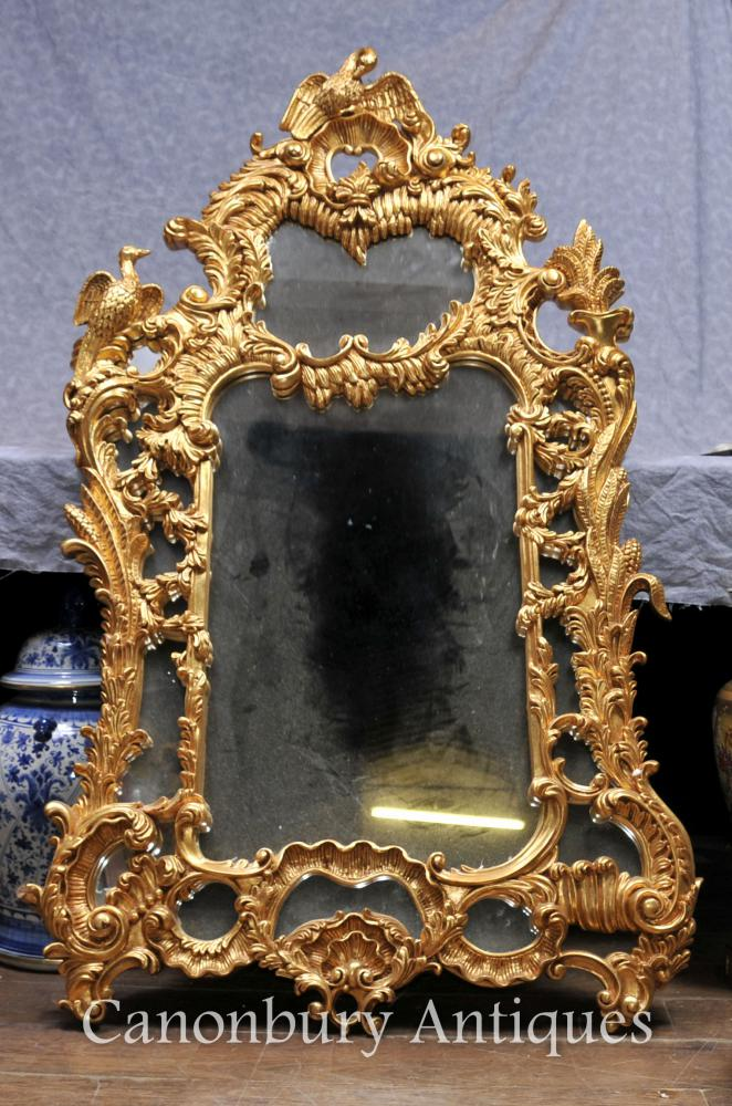 Carved Gilt Chippendale Pier Miroir Verre Anglais Miroirs