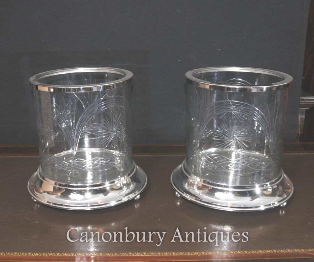 Paire Argenterie Victorienne Urnes en verre taillé Vases Plantes