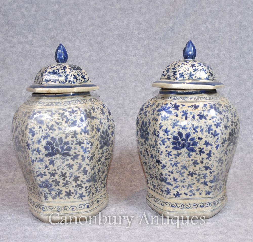 Paire Nanking Porcelaine Chine Gingembre Temple Urnes Jars Vases