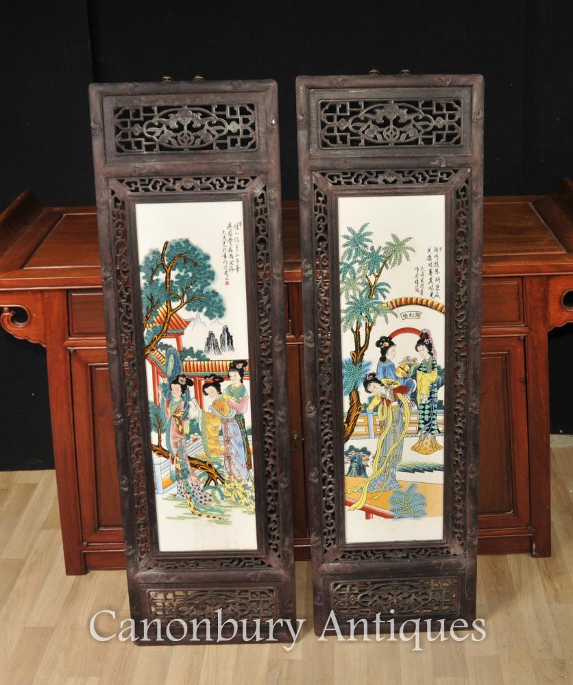Paire Peintes à la main Famille chinoise Rose Porcelaine Plaques Kimono Lady Architectural