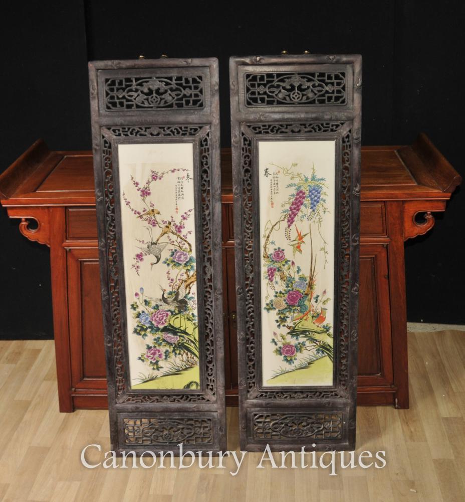 Paire de peintures en porcelaine chinoise Kangxi Porcelaine chinoise