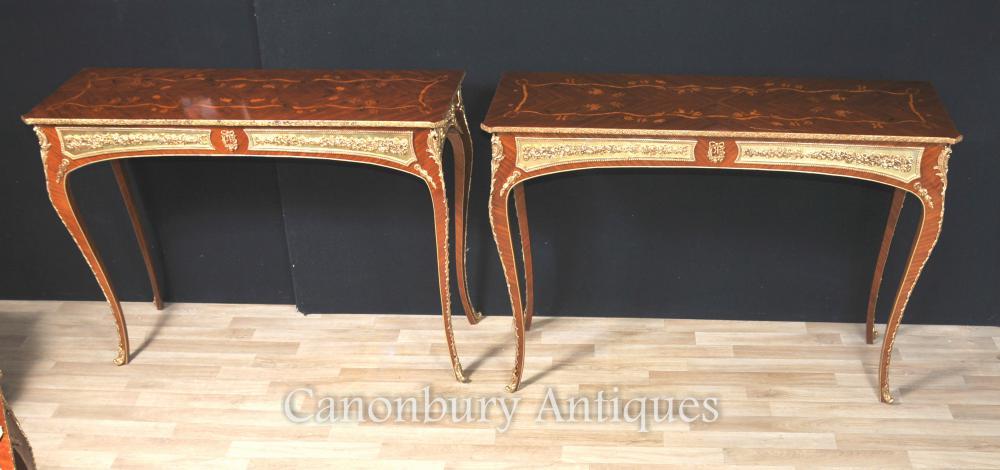 Paire de tablettes français Louis XVI Inlay Ormolu