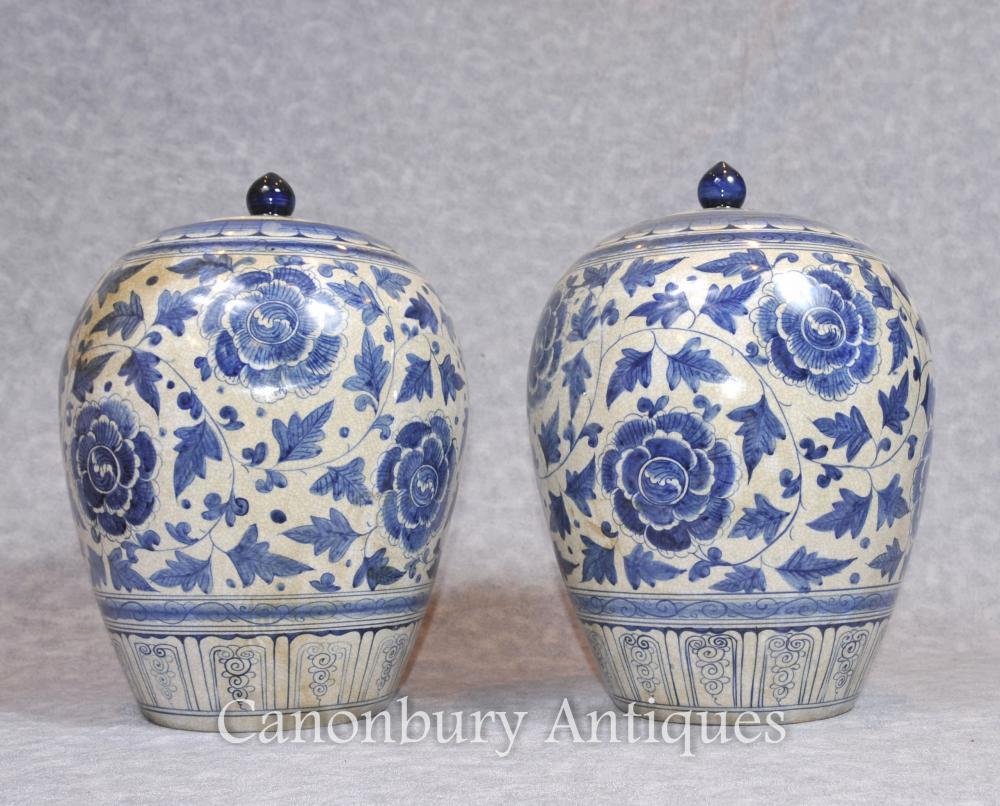 Paire de vases en porcelaine bleue et blanche chinoise Urnes Lidded Pots Ovoid
