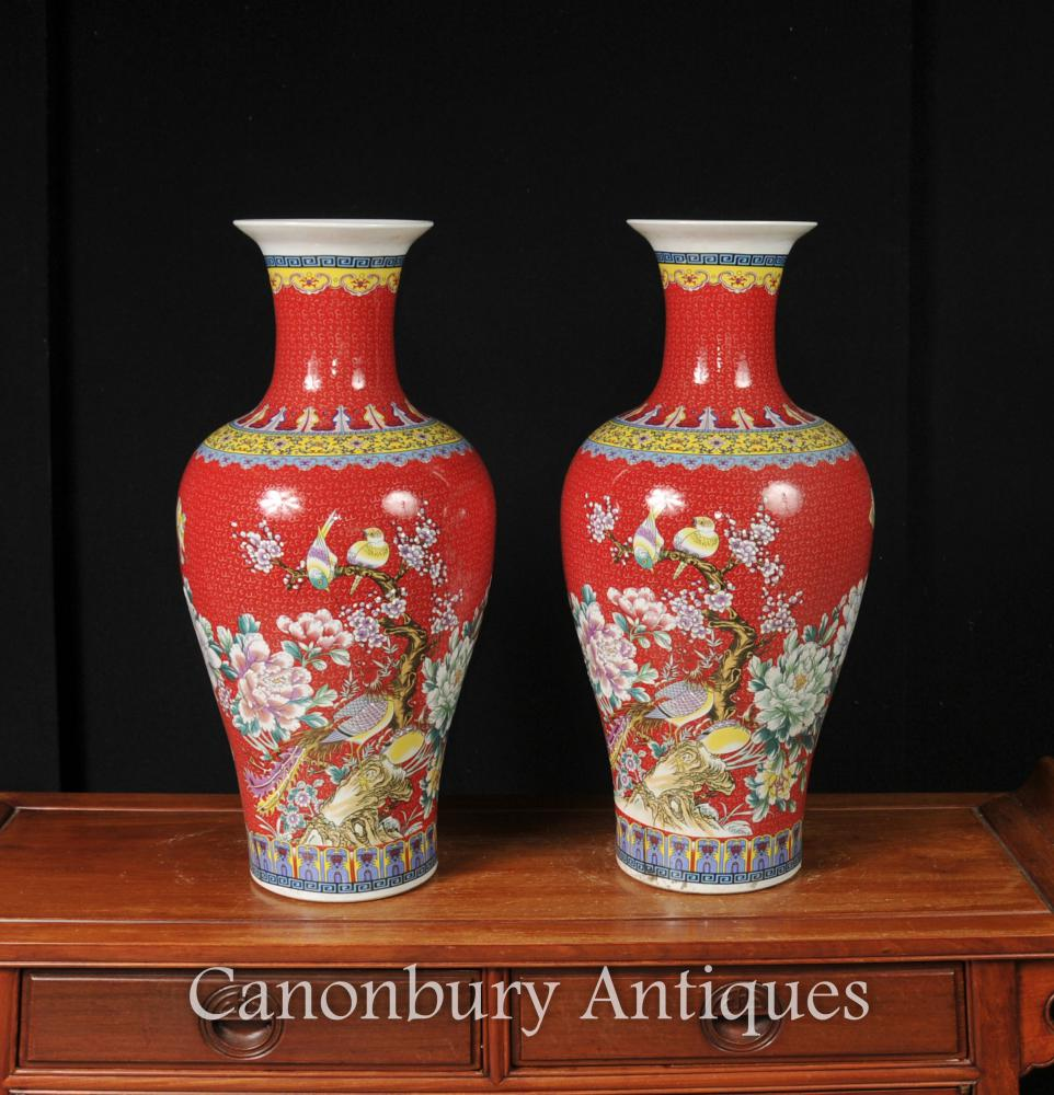 Paire de vases en porcelaine chinois Jiaqing Imperial Red