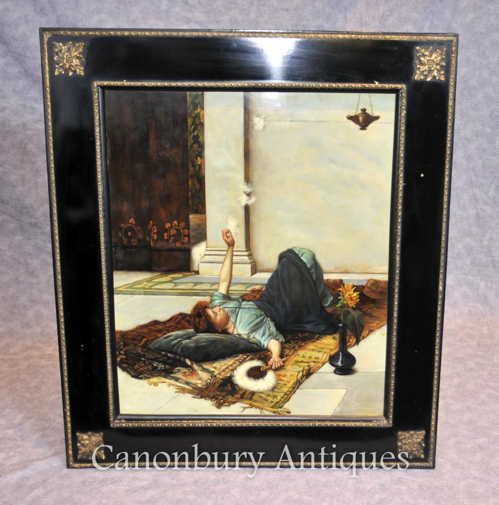 Porcelaine allemande KPM Odalisque Femme Portrait Peinture à l'huile Plaque Plaque