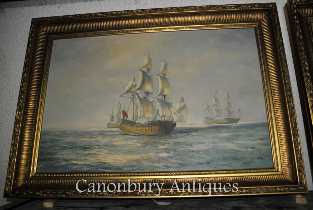 Anglais huile victorienne Peinture Paysage marin Galleon Bateau Signé