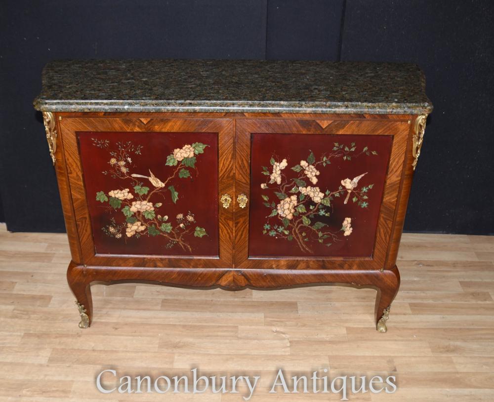 Antique Commode armoire Français laque marqueterie 1880