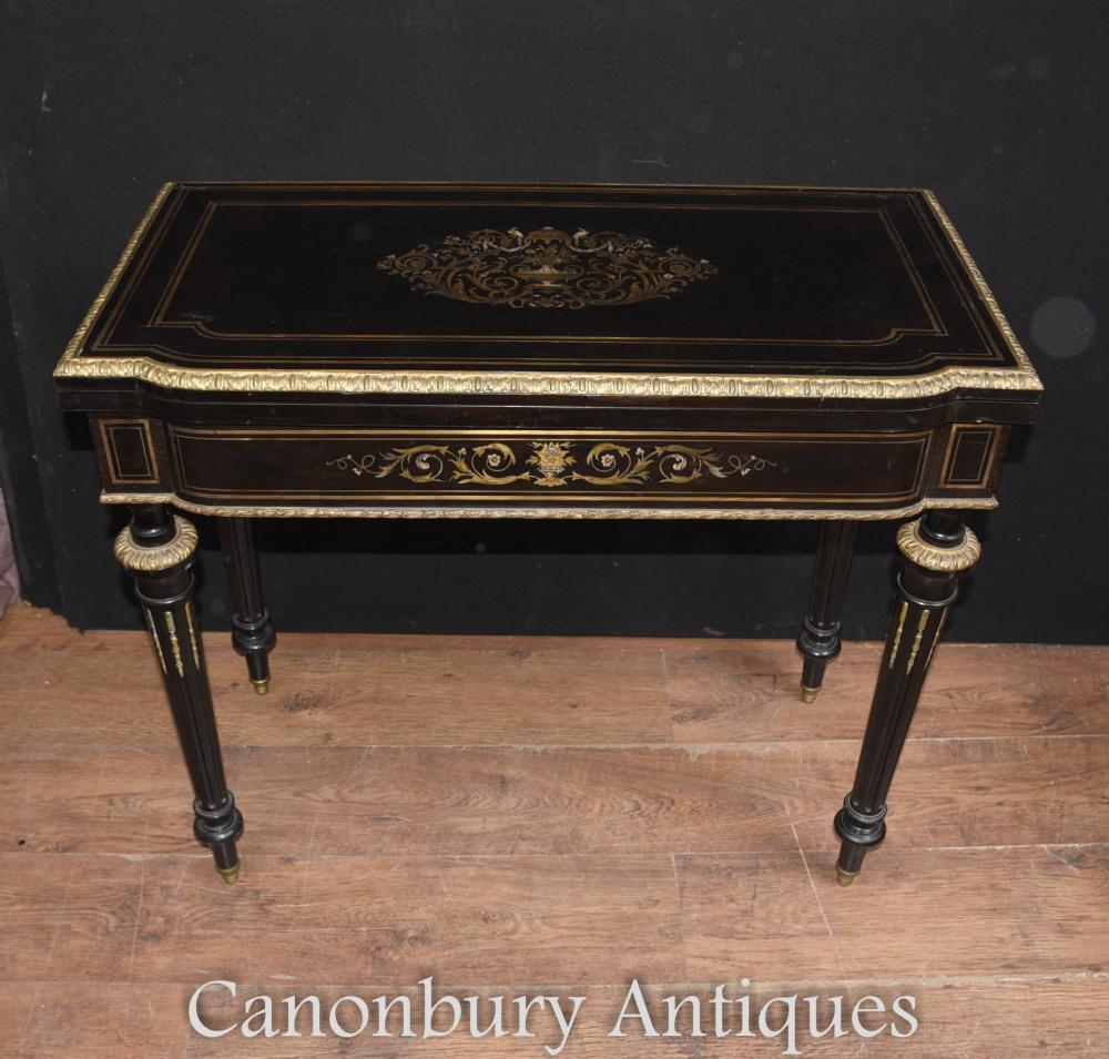 Antique Empire Ebène Jeux de cartes Table Boulle Inlay