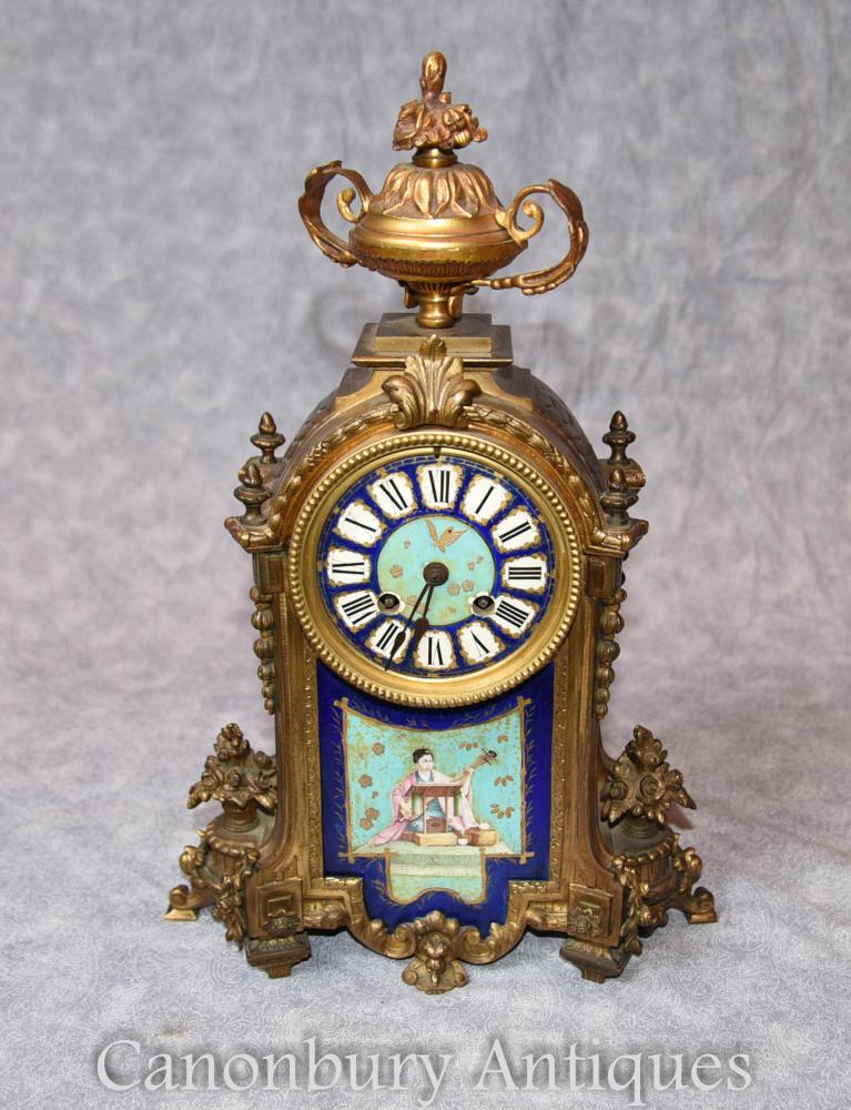 Antique French Mantle Clock Décoration Japonaise Sevres Porcelain Time