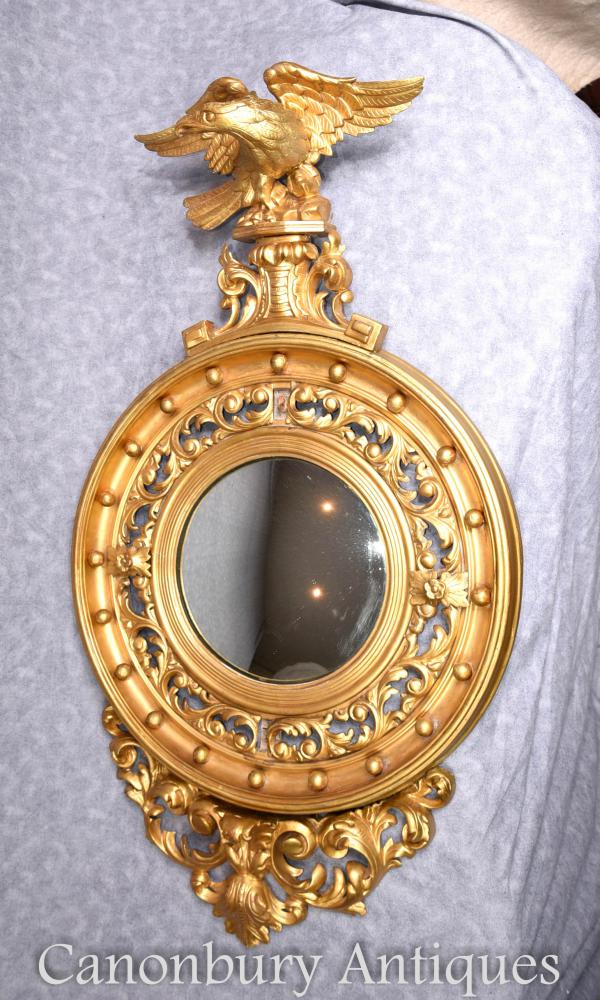 Antique Regency Gilt miroir convexe Miroirs en verre Eagle