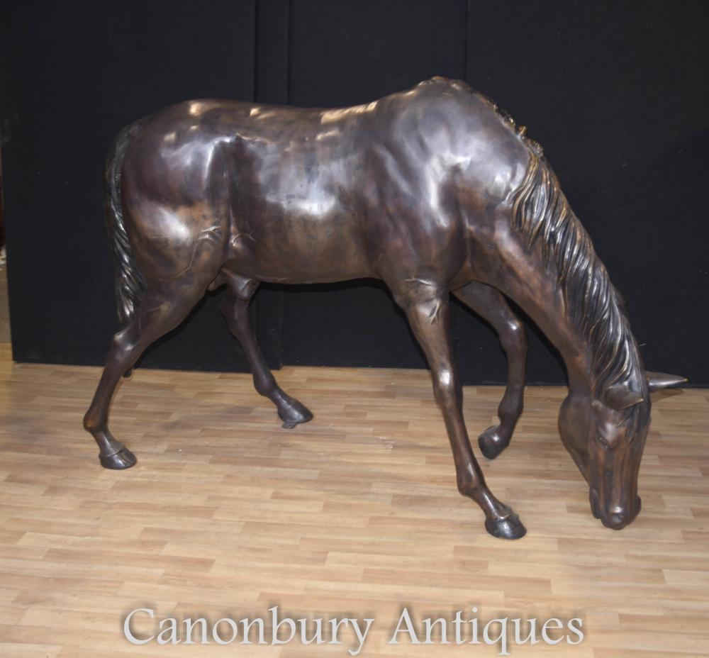 Cheval de Bronze grandeur nature anglais Statue étalon animaux chevaux