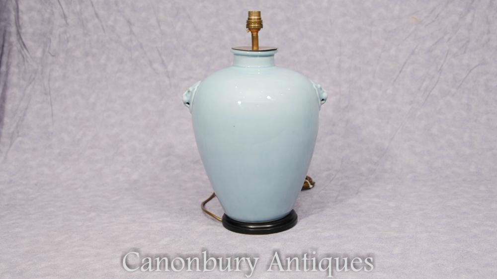 Chinoise Celadon Porcelaine Lampe de Table Lampe