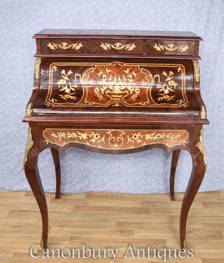 Empire Français Roll Top Desk écrit Table Bureau De Dame marqueterie